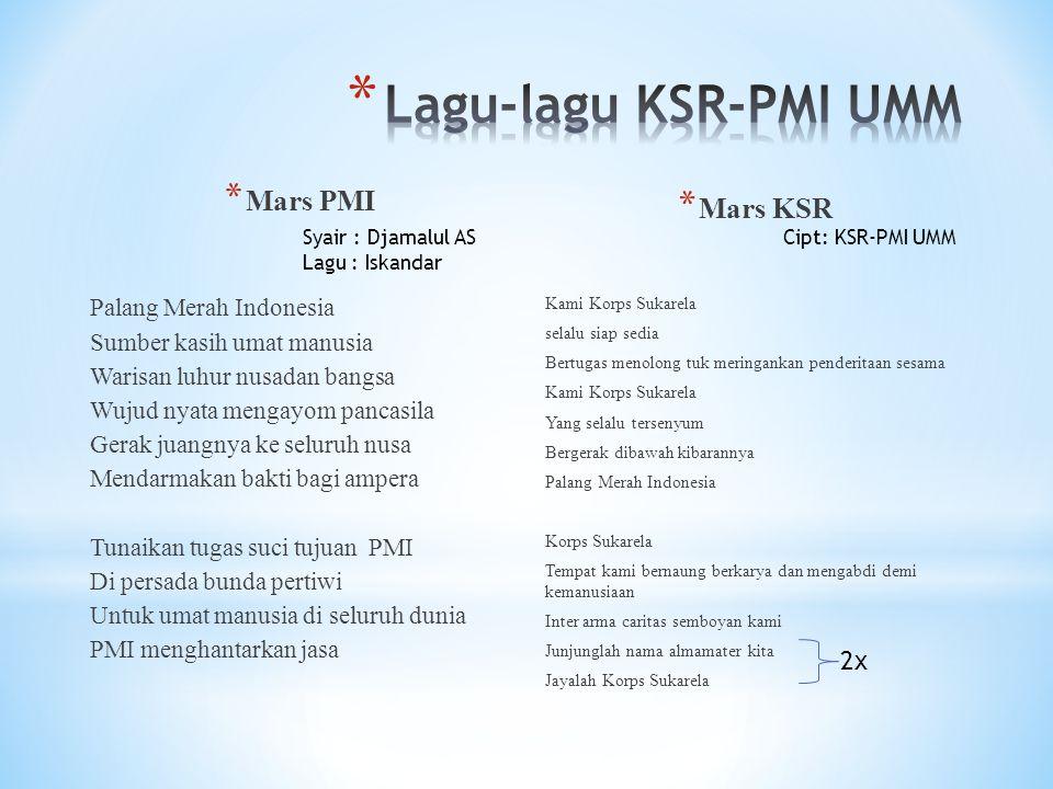 Lagu-lagu KSR-PMI UMM Mars PMI Mars KSR 2x Palang Merah Indonesia