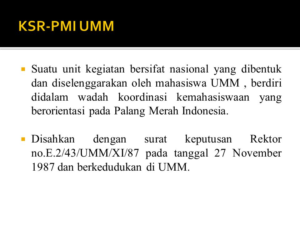 KSR-PMI UMM