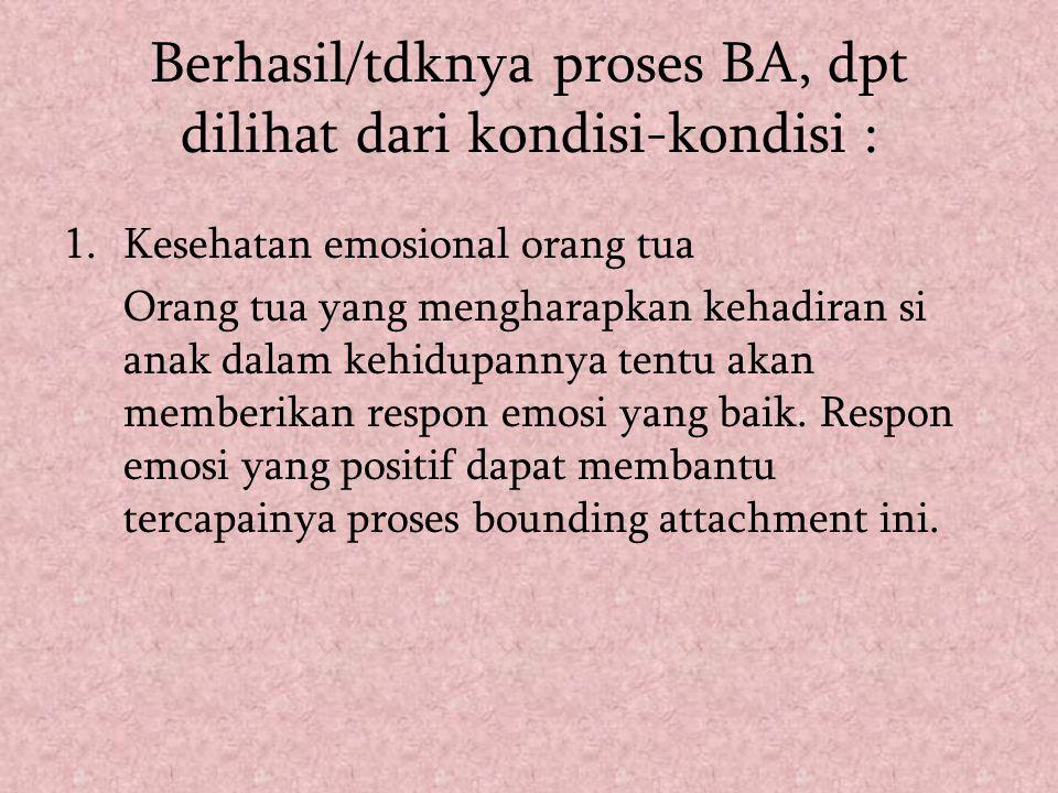 Berhasil/tdknya proses BA, dpt dilihat dari kondisi-kondisi :