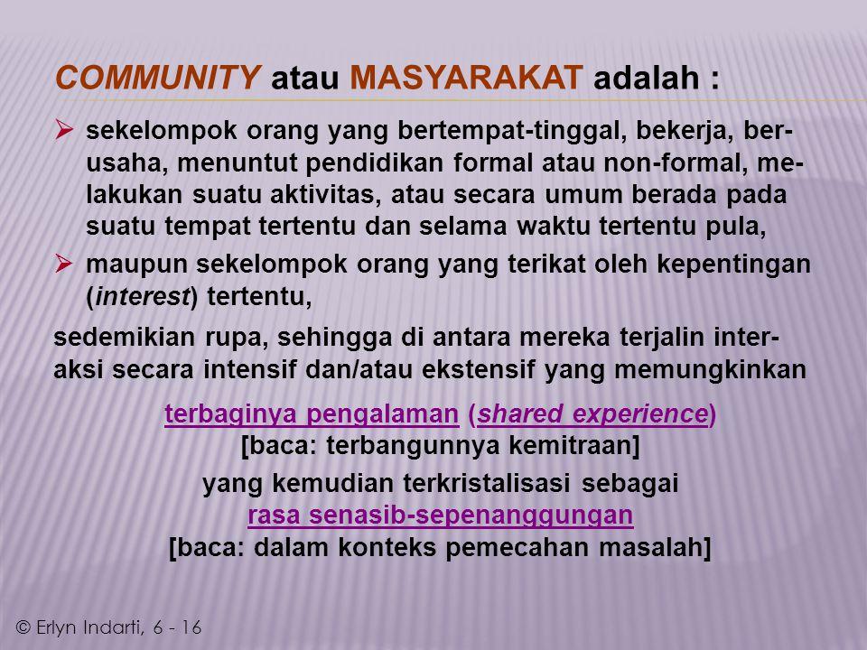 COMMUNITY atau MASYARAKAT adalah :