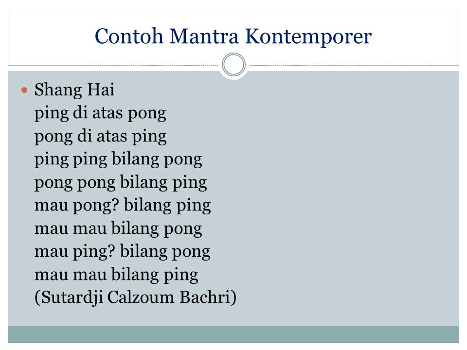 Contoh Mantra Kontemporer