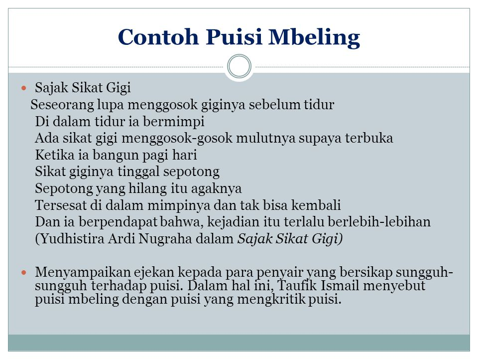 Contoh Puisi Mbeling Sajak Sikat Gigi