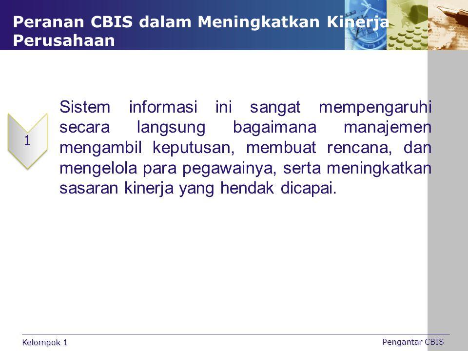 Peranan CBIS dalam Meningkatkan Kinerja Perusahaan