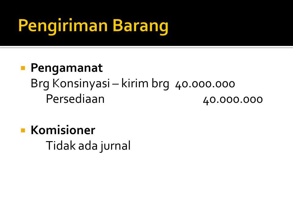 Pengiriman Barang Pengamanat Brg Konsinyasi – kirim brg 40.000.000
