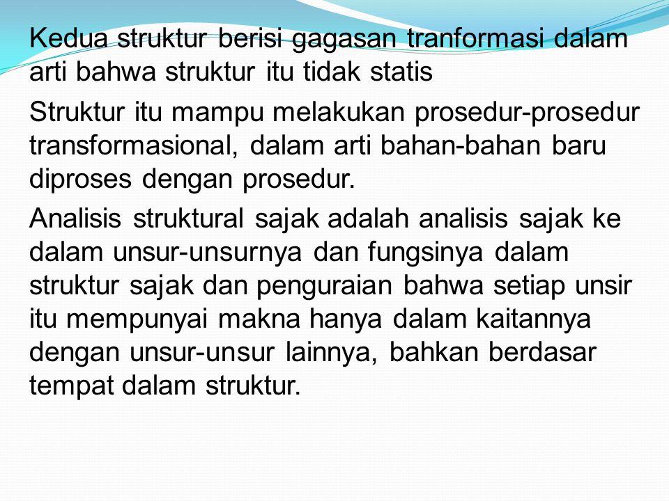 Kedua struktur berisi gagasan tranformasi dalam arti bahwa struktur itu tidak statis Struktur itu mampu melakukan prosedur-prosedur transformasional, dalam arti bahan-bahan baru diproses dengan prosedur.