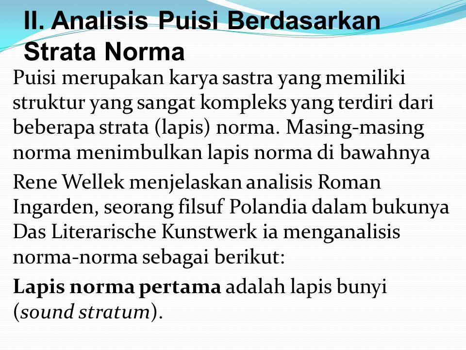 II. Analisis Puisi Berdasarkan Strata Norma