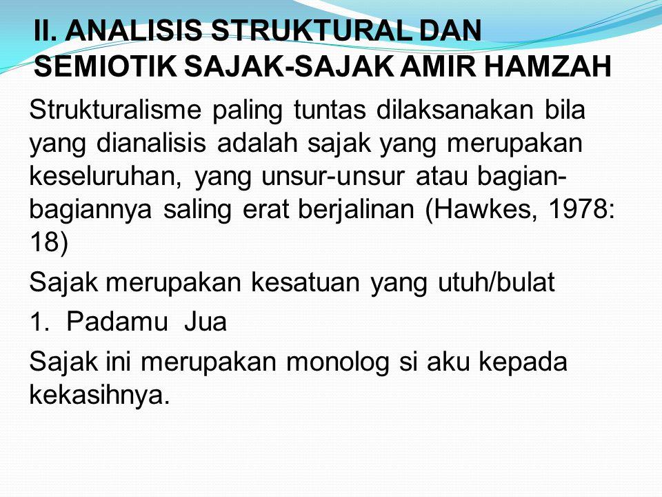 II. ANALISIS STRUKTURAL DAN SEMIOTIK SAJAK-SAJAK AMIR HAMZAH