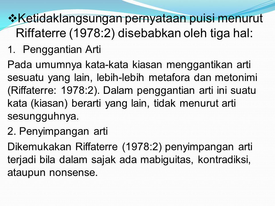 Ketidaklangsungan pernyataan puisi menurut Riffaterre (1978:2) disebabkan oleh tiga hal: