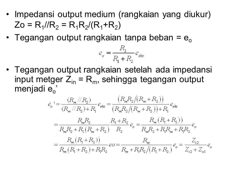 Impedansi output medium (rangkaian yang diukur) Zo = R1//R2 = R1R2/(R1+R2)