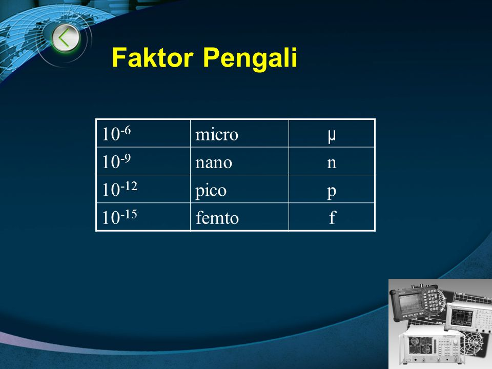 Faktor Pengali 10-6 micro μ 10-9 nano n 10-12 pico p 10-15 femto f