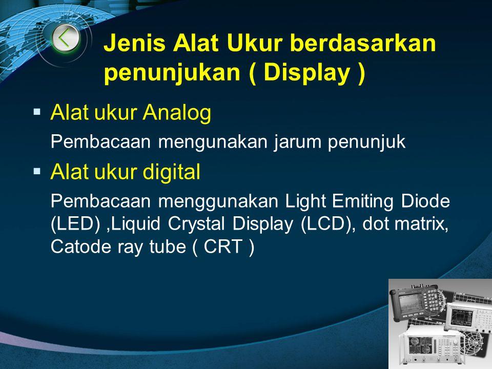 Jenis Alat Ukur berdasarkan penunjukan ( Display )