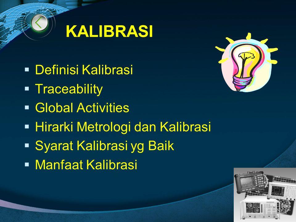 KALIBRASI Definisi Kalibrasi Traceability Global Activities