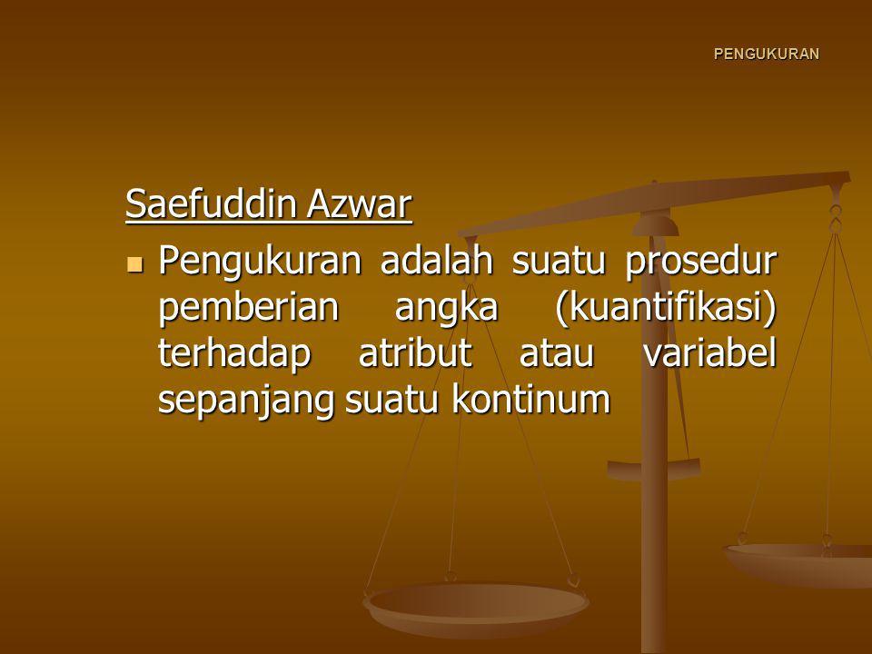 PENGUKURAN Saefuddin Azwar.