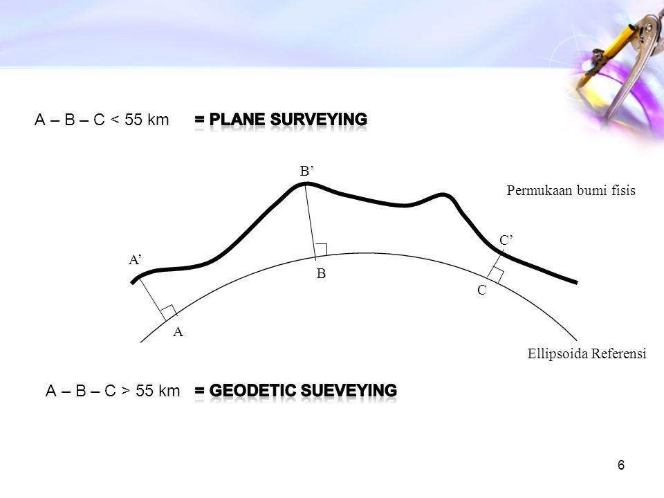A – B – C < 55 km = Plane surveying A – B – C > 55 km
