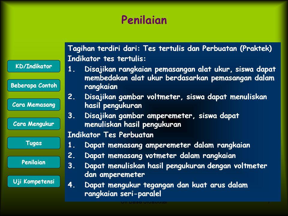 Penilaian Tagihan terdiri dari: Tes tertulis dan Perbuatan (Praktek)