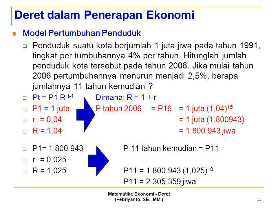 Deret dalam Penerapan Ekonomi