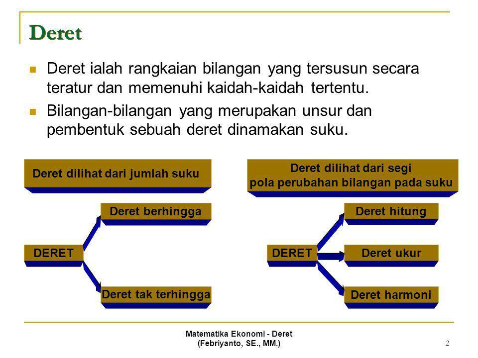 Deret Deret ialah rangkaian bilangan yang tersusun secara teratur dan memenuhi kaidah-kaidah tertentu.