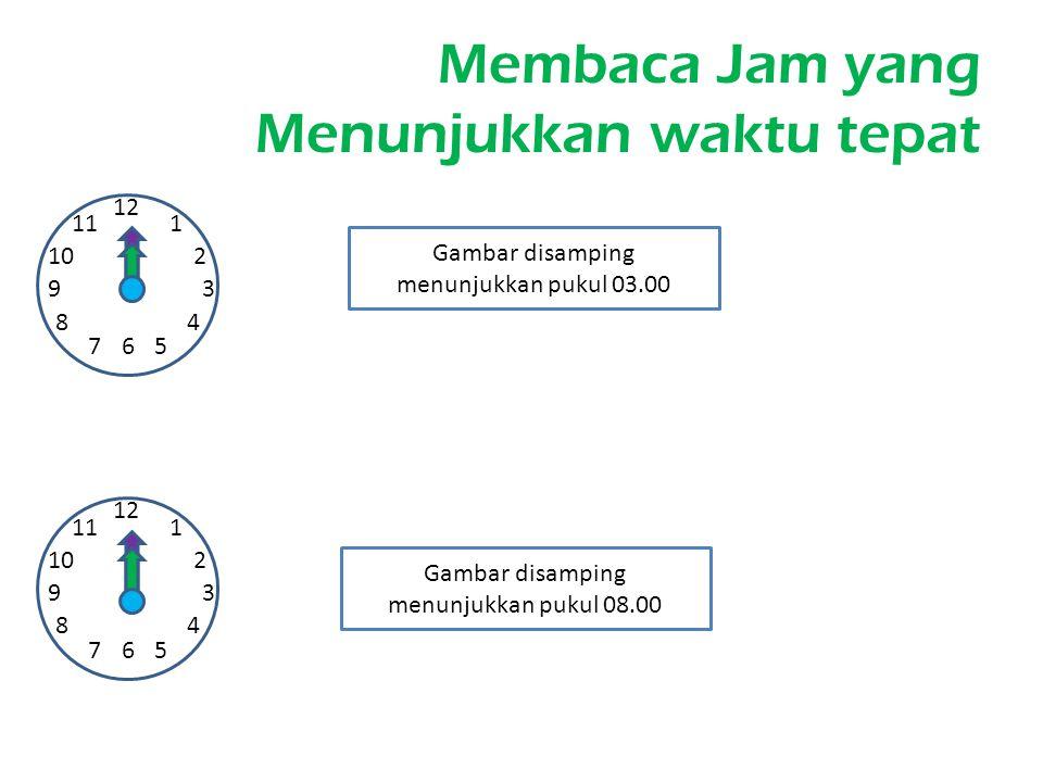 Membaca Jam yang Menunjukkan waktu tepat