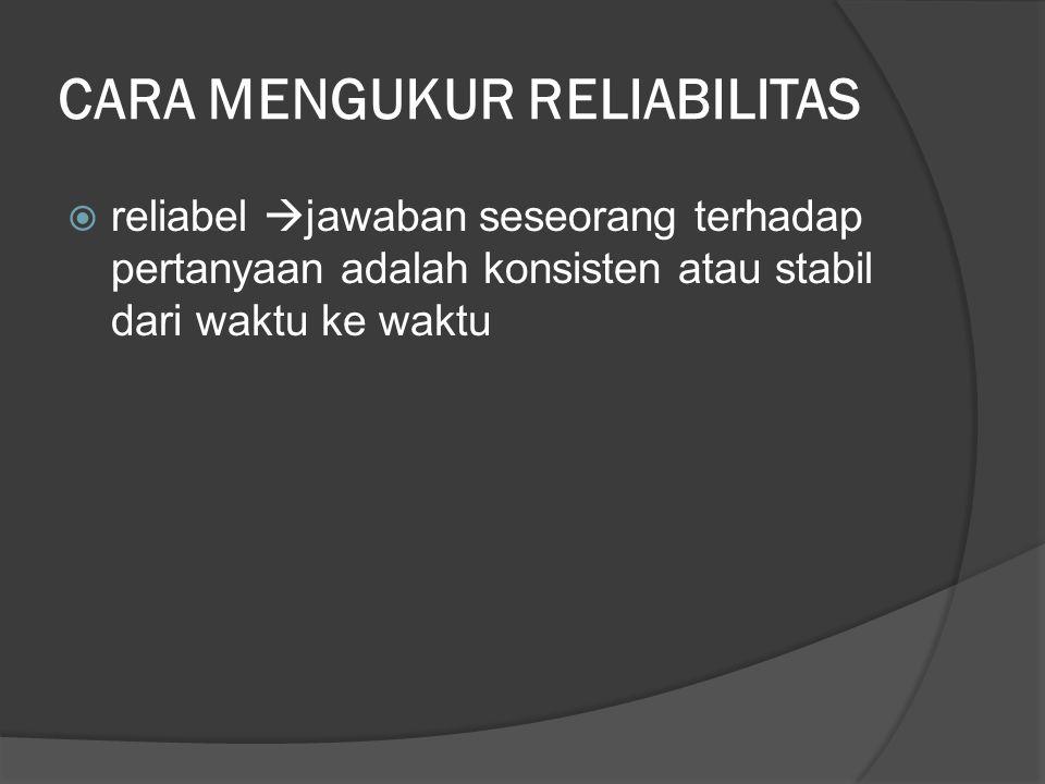 CARA MENGUKUR RELIABILITAS