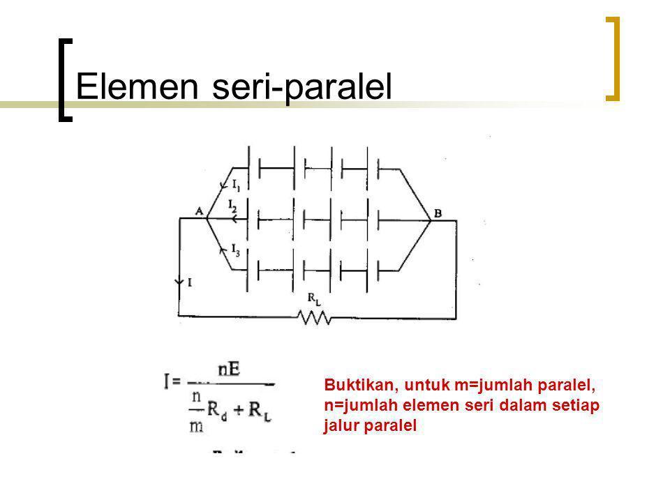 Elemen seri-paralel Buktikan, untuk m=jumlah paralel,