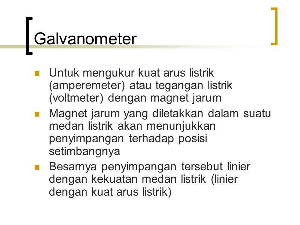 Galvanometer Untuk mengukur kuat arus listrik (amperemeter) atau tegangan listrik (voltmeter) dengan magnet jarum.
