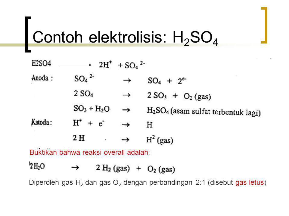 Contoh elektrolisis: H2SO4
