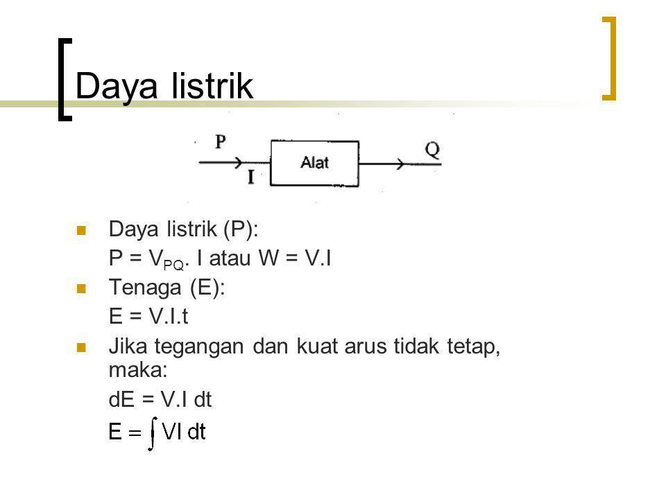 Daya listrik Daya listrik (P): P = VPQ. I atau W = V.I Tenaga (E):