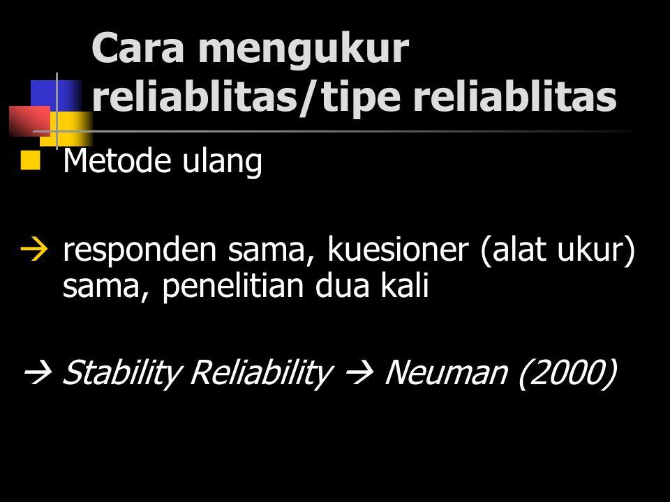 Cara mengukur reliablitas/tipe reliablitas