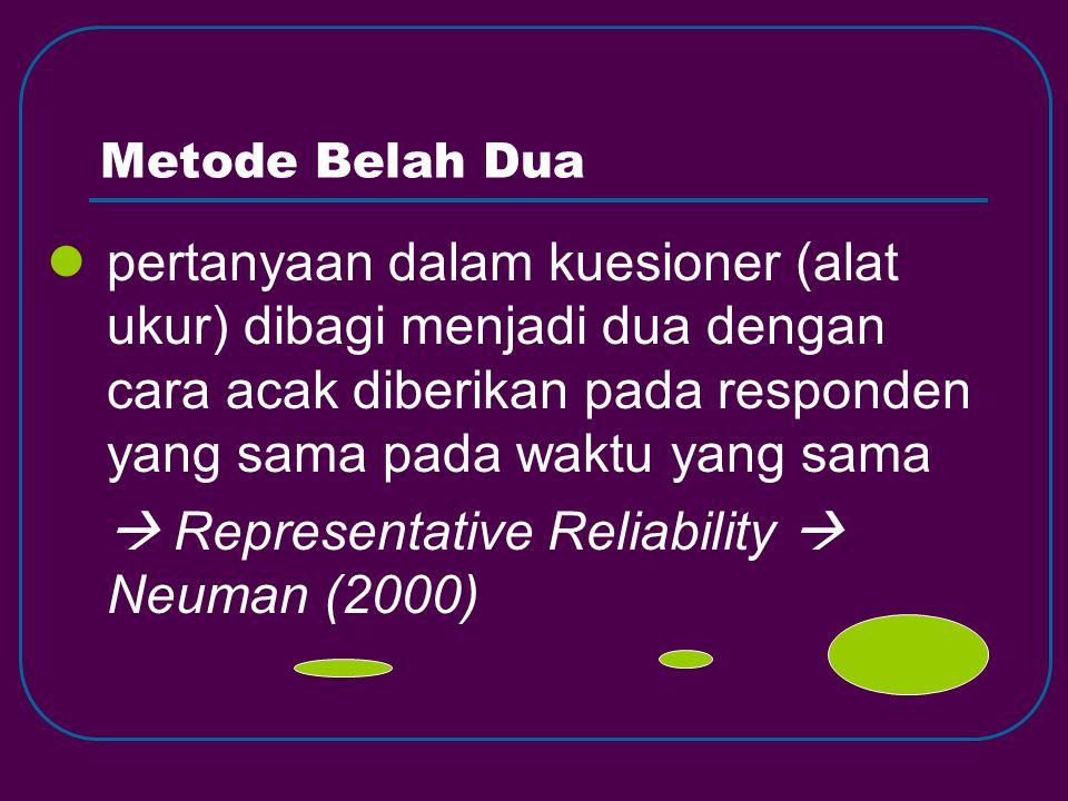  Representative Reliability  Neuman (2000)