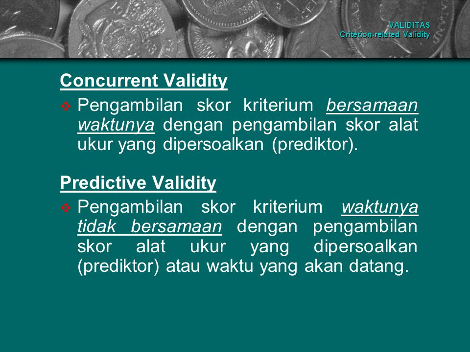 VALIDITAS Criterion-related Validity