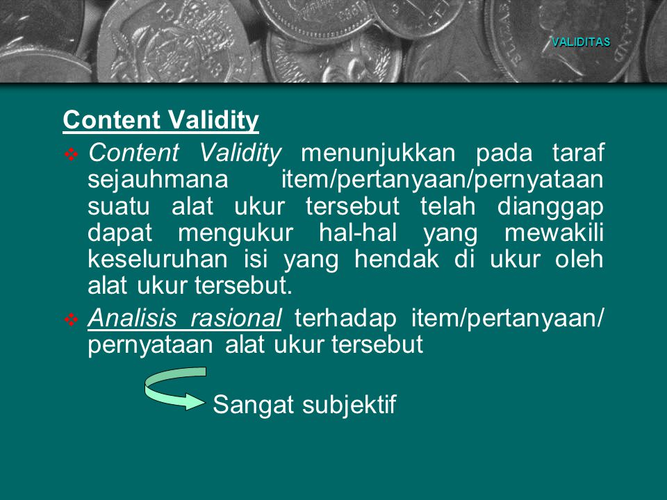 VALIDITAS Content Validity.
