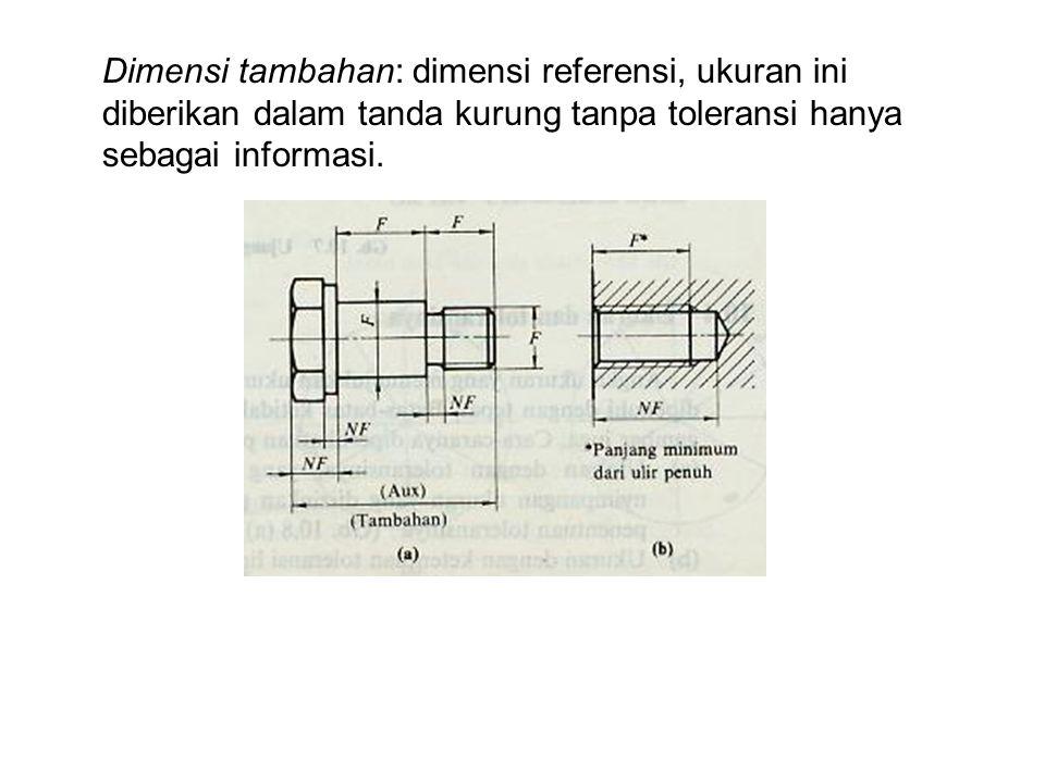 Dimensi tambahan: dimensi referensi, ukuran ini diberikan dalam tanda kurung tanpa toleransi hanya sebagai informasi.