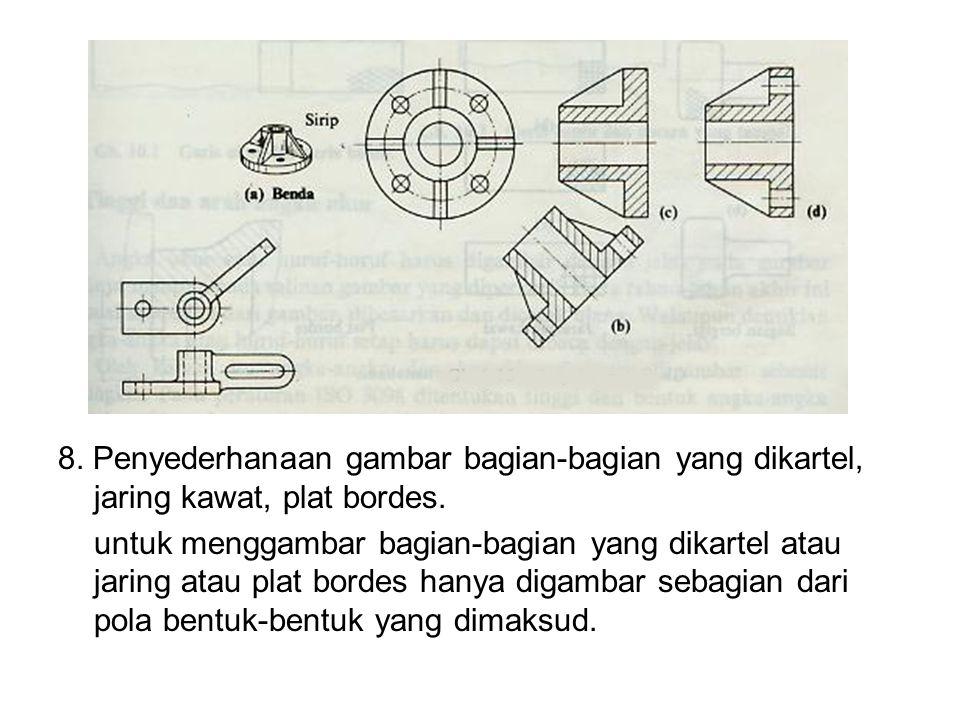 8. Penyederhanaan gambar bagian-bagian yang dikartel, jaring kawat, plat bordes.