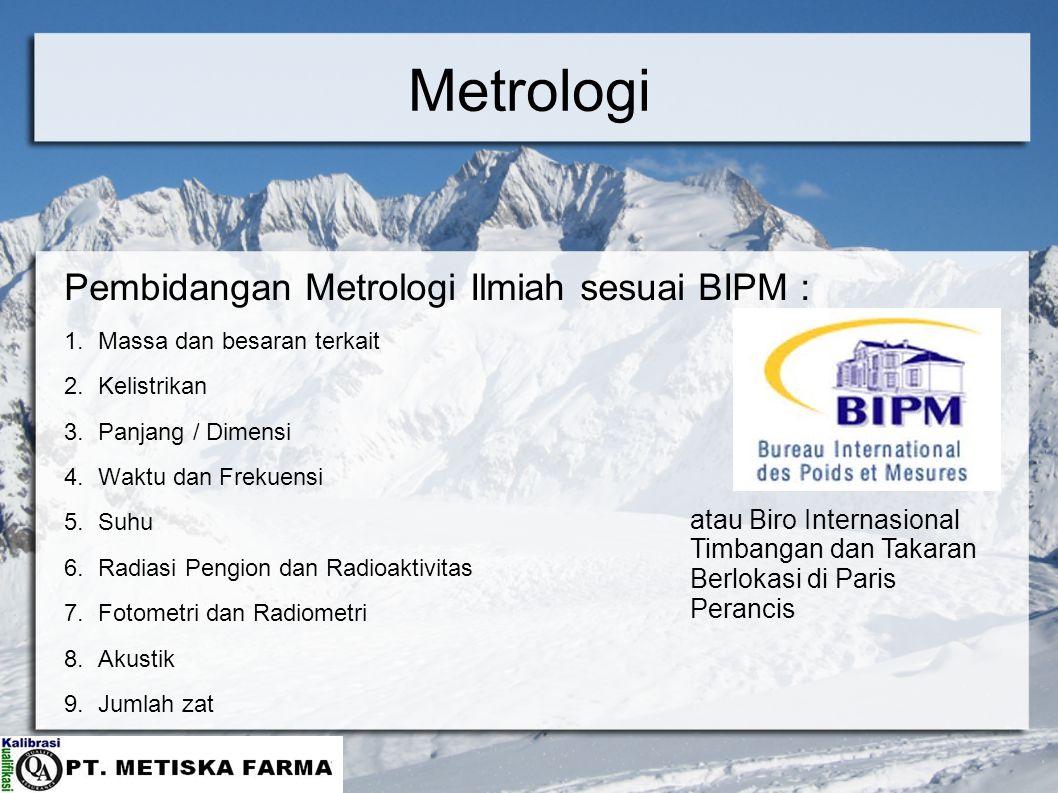 Metrologi Pembidangan Metrologi Ilmiah sesuai BIPM :