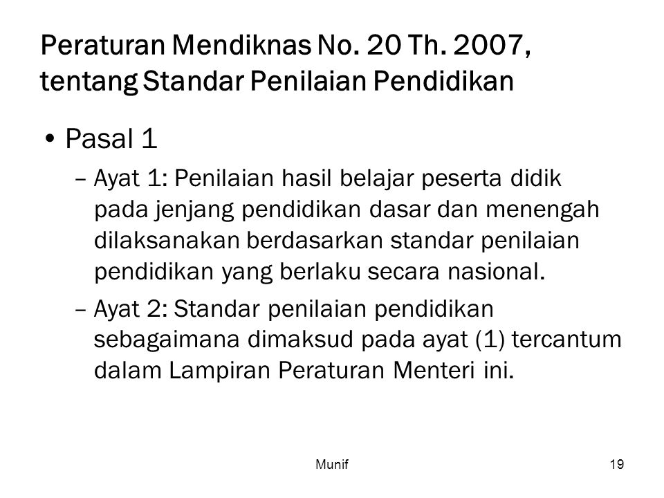 Peraturan Mendiknas No. 20 Th