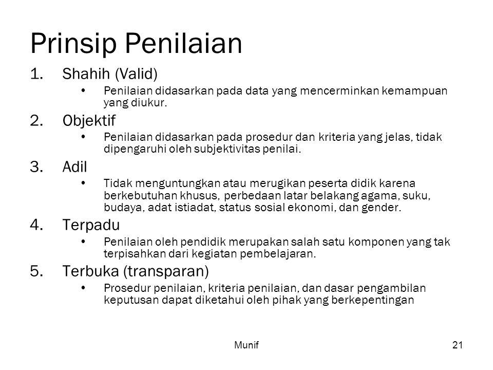 Prinsip Penilaian Shahih (Valid) Objektif Adil Terpadu