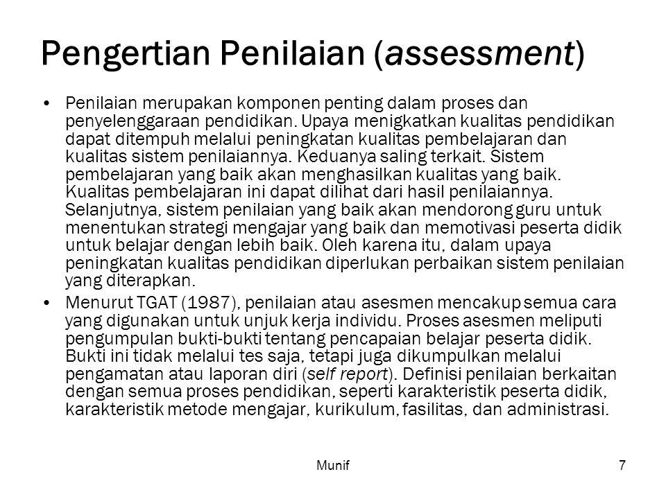 Pengertian Penilaian (assessment)