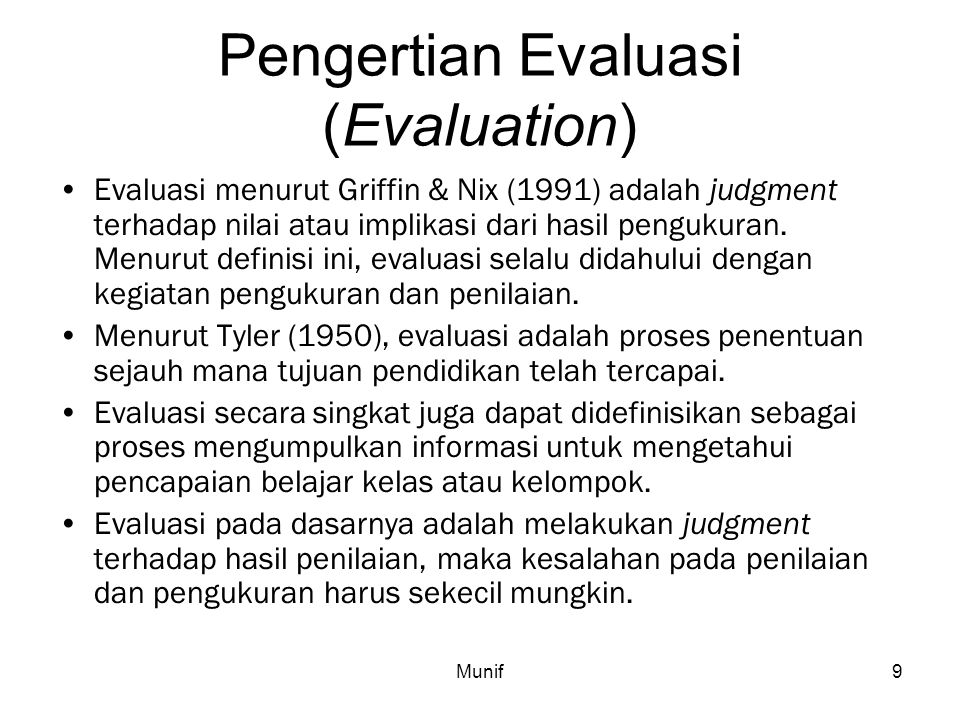 Pengertian Evaluasi (Evaluation)