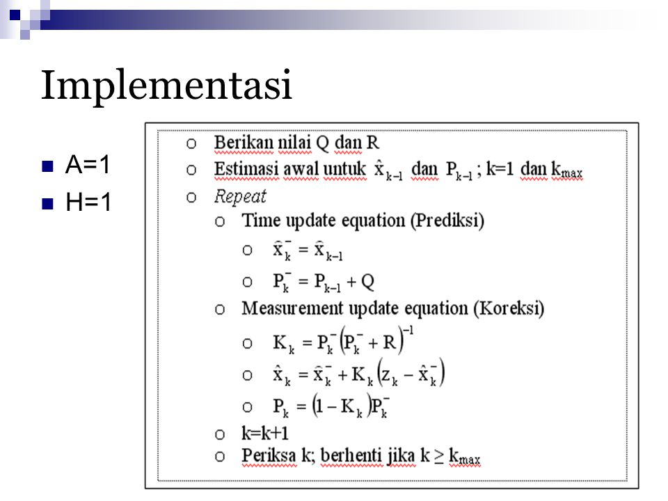 Implementasi A=1 H=1