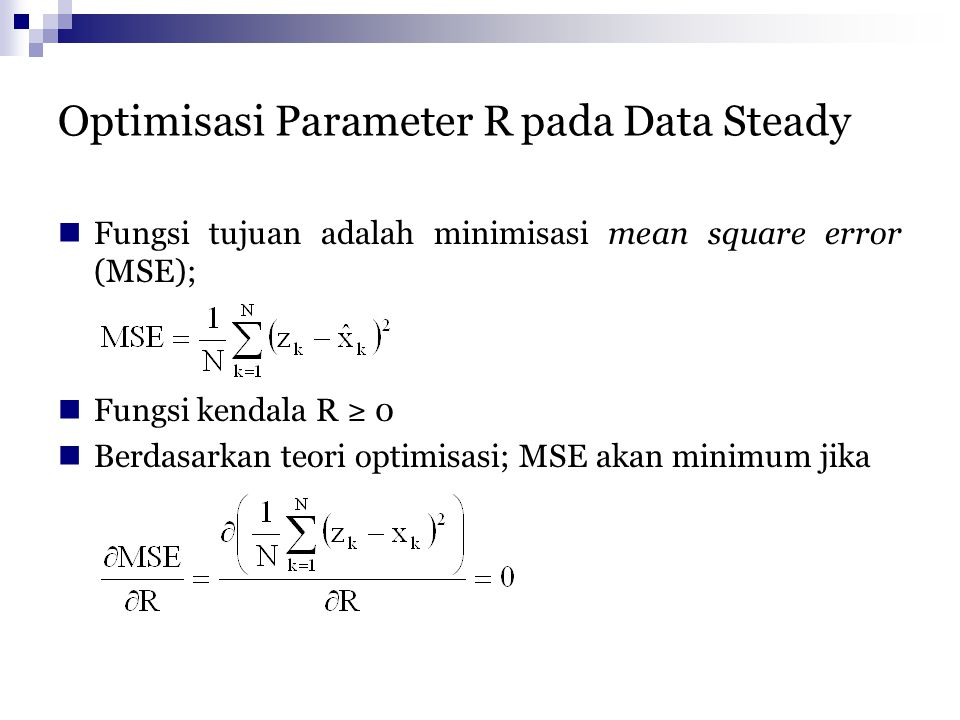 Optimisasi Parameter R pada Data Steady