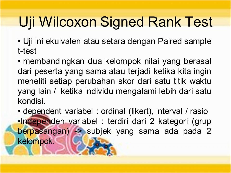 Uji Wilcoxon Signed Rank Test