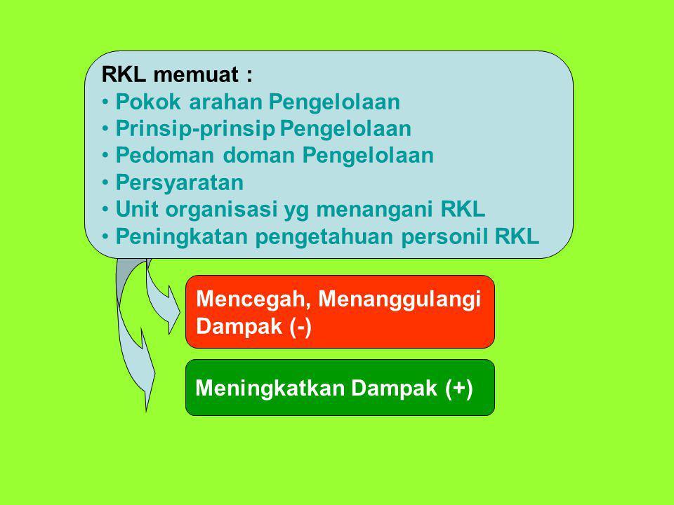 RKL memuat : Pokok arahan Pengelolaan. Prinsip-prinsip Pengelolaan. Pedoman doman Pengelolaan. Persyaratan.