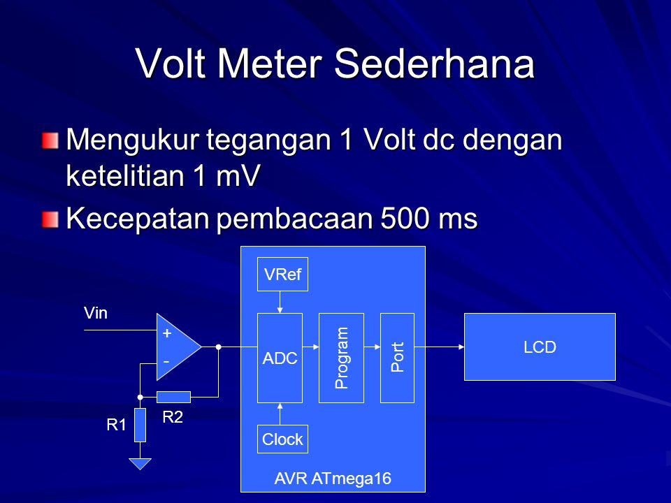 Volt Meter Sederhana Mengukur tegangan 1 Volt dc dengan ketelitian 1 mV. Kecepatan pembacaan 500 ms.