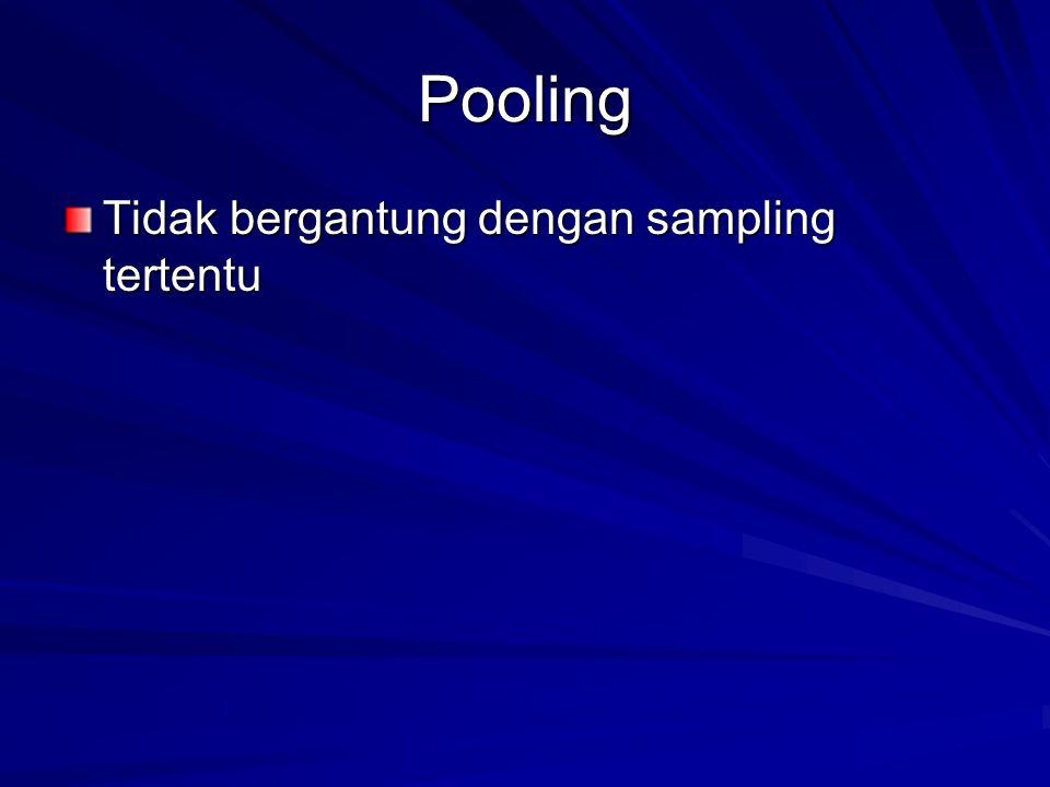 Pooling Tidak bergantung dengan sampling tertentu