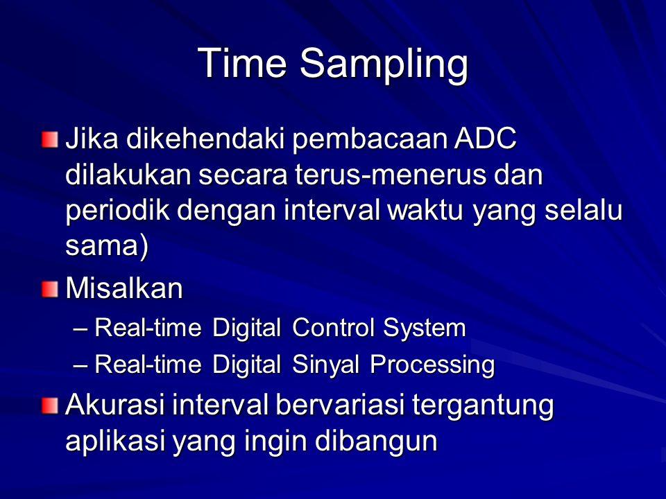 Time Sampling Jika dikehendaki pembacaan ADC dilakukan secara terus-menerus dan periodik dengan interval waktu yang selalu sama)