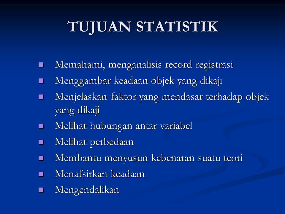 TUJUAN STATISTIK Memahami, menganalisis record registrasi