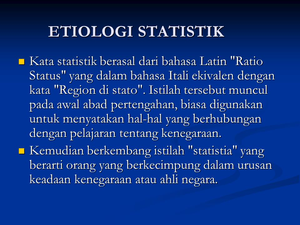 ETIOLOGI STATISTIK