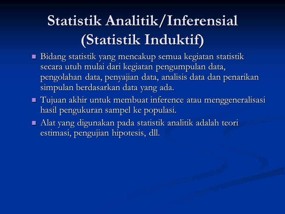 Statistik Analitik/Inferensial (Statistik Induktif)