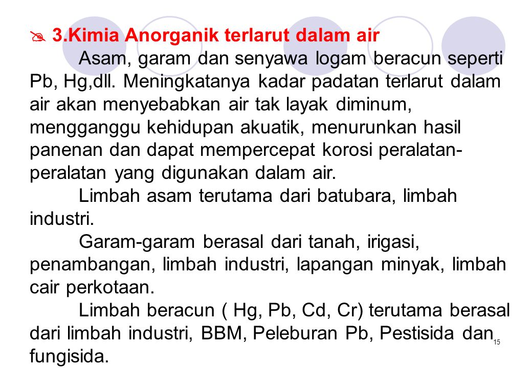  3.Kimia Anorganik terlarut dalam air