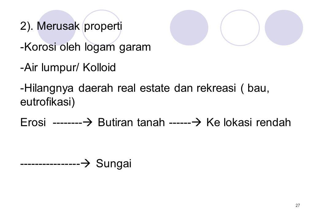 2). Merusak properti Korosi oleh logam garam. Air lumpur/ Kolloid. Hilangnya daerah real estate dan rekreasi ( bau, eutrofikasi)